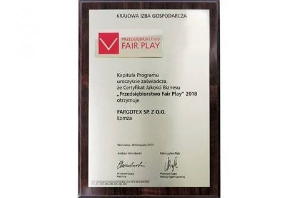 Fargotex Group firmą Fair Play